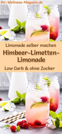 Himbeer-Limetten-Limonade selber machen: Low-Carb-Rezept für selbstgemachte Lim… Making raspberry and lime lemonade yourself: Low-carb recipe for homemade lemonade without sugar – healthy, low in calories, quick and easy … free it Yourself # Summer drink Drinks Alcoholicas, Summer Drinks, Healthy Drinks, Healthy Snacks, Healthy Lemonade, Healthy Nutrition, Healthy Eating, Law Carb, Low Carb Recipes
