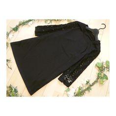 メルカリ商品: 【新品】0123【L】花刺繍オーガンジー袖 カット地チュニック 黒 #メルカリ