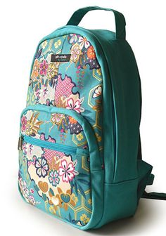 mochila estampada, estampa japonesa, azul piscina, tecido japonês, mochila azul, mochila de tecido, tofu studio