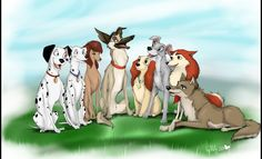 Pongo, Perdy, Flo, Charlie, Lady, Tramp, Jenna, and Balto