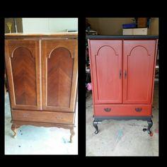 Antique armoire refurbish. Red and black. Www.facebook.com/okiecharm