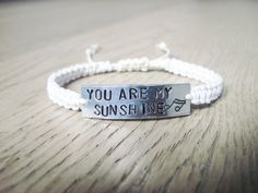 You Are My Sunshine Jewelry, Gift for Daughter, Lyric Bracelet, Yellow Bracelet, Music Bracelet, Handstamped Bracelet, Music Lover Gift