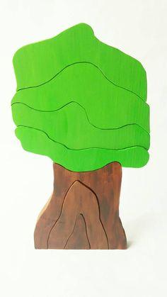 Wooden Puzzle Tree Stacker Custom Painted by theGreenOrangutan