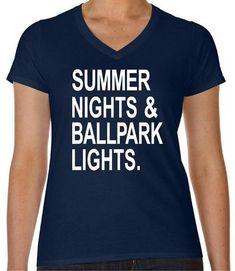 3ca1d4ffeffe Baseball Ladies V-Neck Cotton Tee - Summer Lights and Ballpark Lights  Baseball Shirts -