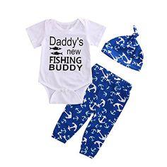 Infant Baby Boy Girl Anchor Pant Set hat Outfits Sunsuit 3 Piece Clothes Set 1218M Blue * Visit the image link more details. (This is an affiliate link)