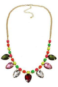 #ROMWE Colorful Diamante Pendant Necklace