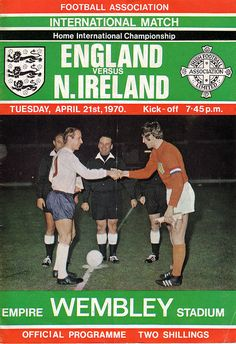Bobby Charlton's 100th cap for England. 21/04/70. Home International Championship. England v Northern Ireland. England won 3-1. Charlton marked the occassion with a goal. The other  England scorers were Geoff Hurst & Martin Peters. George Best scored  Ireland's consolation.
