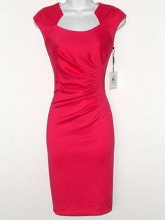 Calvin Klein Dress Size 10 Hot Pink Sateen Ruched Stretch Sheath Cocktail NWT #CalvinKlein #Sheath #Cocktail