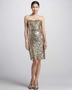 """Badgley Mischka Sequined Strapless Cocktail Dress....also a contender for the """"we're running away to Charleston and eloping dress"""""""