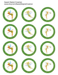 "Tinkerbell Cupcake Toppers, Thinkerbell Birthday Party Circles, Party Tags, Stckers, 2"" Instant Download"
