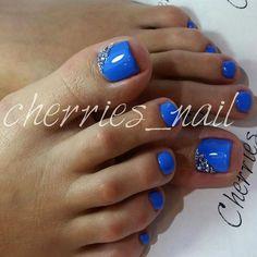 Blue - Rhinestone Tie Nails
