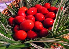 Russians dye their Easter eggs red to symbolize the blood of Christ. Basekt of Red Easter Eggs on Palm branches Hunter Gatherer Diet, Orthodox Easter, Greek Easter, Easter Traditions, Exotic Fruit, Russian Recipes, Egg Hunt, Mediterranean Recipes, Happy Easter