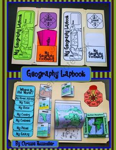 Geography Lapbook Interactive Kit from Chrissie Rissmiller on TeachersNotebook.com (31 pages)  - Geography Lapbook Interactive Kit- foldables to learn basic geography skills- landforms, compass rose, hemispheres, equator, prime meridian, latitude/longitudes, continents & oceans