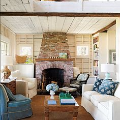 Cottage with a fireplace
