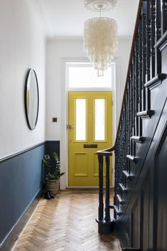 Interior Design by Imperfect Interiors at this Victorian Villa in London. A palette of contemporary Farrow & Ball paint colours mixed with traditional period details- Hague Blue spindles, staircase and white walls, a sunshine yellow front door, a large me Grey Interior Design, Diy Interior, Living Room Interior, Contemporary Interior, Interior Door, Interior Stairs, Interior Garden, Traditional Interior, Interior Paint