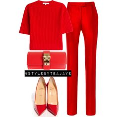 A fashion look from September 2015 featuring Carven sweaters, Preen pants and Christian Louboutin pumps. Browse and shop related looks.