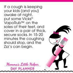Tip of the Day! #mommaslittlehelper #moms #tips #tricks #kids #coughs #VicksVapoRub