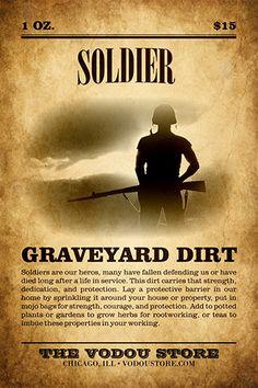 Soldier Graveyard Dirt : The Vodou Store Hoodoo Spells, Wiccan Spells, Magic Spells, Witchcraft, Wiccan Spell Book, Witch Spell, Spell Books, Male Witch, Money Magic