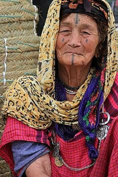 Africa | Old berber woman from the Atlas Mountains of Morocco | Photographer unknown