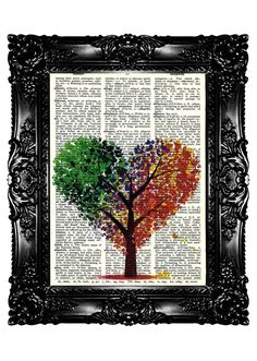 HEARTree Colorfull  Upcycled Book Dictionary Print  Art Prints Vintage Book Print  Vintage Book Page Recycled Buy 3 get 4th free. $7.99, via Etsy.
