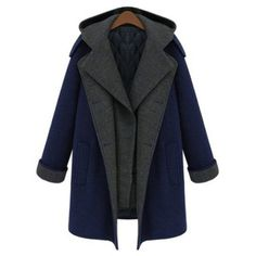 Fashionable Turn-Down Collar Color Block Double-Breasted Long Sleeve Coat For Women