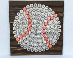 Baseball Wall Art made from beer bottle caps on stained & painted reclaimed wood. Wire on back for hanging. Diy Bottle Cap Crafts, Beer Cap Crafts, Bottle Cap Projects, Bottle Cap Table, Beer Bottle Caps, Bottle Cap Art, Beer Cap Art, Baseball Wall Art, Metal Crafts