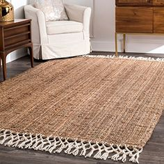 The Gray Barn Antelope Springs Chunky Jute and Wool Tassel Area Rug Buy x Area Rugs O Jute Carpet, Rugs On Carpet, Hall Carpet, Stair Carpet, Wool Area Rugs, Wool Rug, Braided Rag Rugs, 4x6 Rugs, 8x10 Area Rugs
