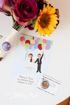 Up Themed Wedding.  Adore these  save the dates!  The Bride added a soda cap to her Afloral.com bouquet for a personal touch.  Love!