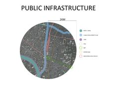 Hualampong Site Analysis Public infrastructure in radius of 2m from the center;  Blue represents waterways and lines represent transportation route.