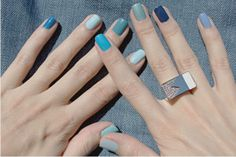 Blue multicolored nail polish
