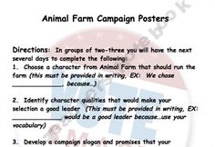 Animal Farm by George Orwell Campaign Poster Propaganda Project product from FeilsEnglishOneStopShop on TeachersNotebook.com