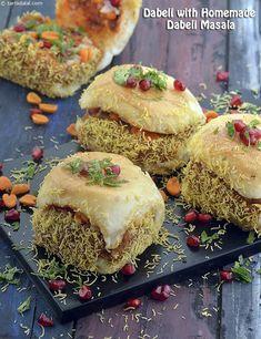 Dabeli with Homemade Dabeli Masala recipe Veg Recipes, Indian Food Recipes, Cooking Recipes, Indian Sandwich Recipes, Vegetarian Recipes, Snacks Recipes, Quick Recipes, Cooking Tips, Chaat Recipe