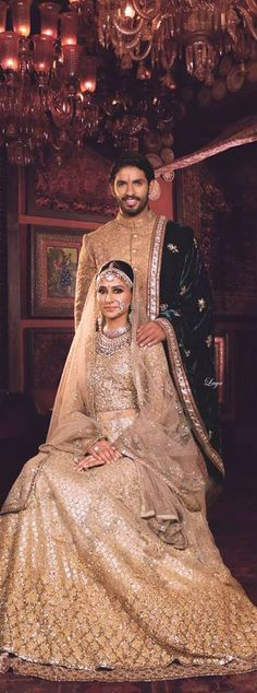 Bridal Lehengas - Champagne Gold Sabyasachi Lehenga with Shimmer and Sequins All Over Work | WedMeGood #wedmegood #bridal #Lehenga