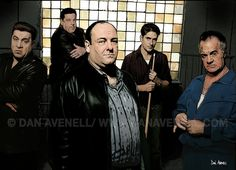 "The Sopranos Present here are Tony Soprano, Christopher Moltisanti, Sal ""Big Pussy"" Bonpensiero, Silvio Dante and Paul ""Paulie Walnuts"" Gualtieri. buy a print at http://www.danavenell.com/buy-the-sopranos/"