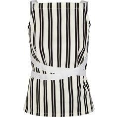 Balenciaga Striped cotton-twill wrap top (7,335 MXN) ❤ liked on Polyvore featuring tops, balenciaga, white, tie back top, tie top, woven top and wrap tie top