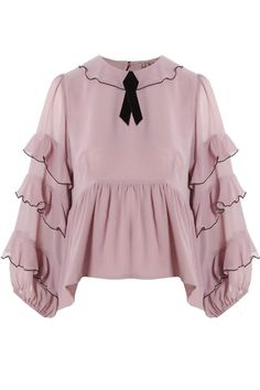 Souffle Top Lavender by For Love and Lemons. Romantic, feminine and flirty, this ruffled lavender top by From Love and Lemons is sure to make any outfit pop. Frilly Shirt, Ruffle Shirt, Ruffle Top, Ruffle Sleeve, Light Purple Shirt, Purple Blouse, Blouse Styles, Blouse Designs, Fashion Outfits