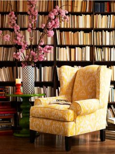 The books the yellow chair!!! THIS is MY idea of what I would like heaven to be when I meet God :) I will get another yellow chair to host him with some tea and a good book!