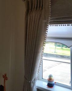 Pom pom curtains for a babies room. Pom Pom Curtains, Baby Room, Babies, Cream, Interior Design, Handmade, Instagram, Home Decor, Creme Caramel