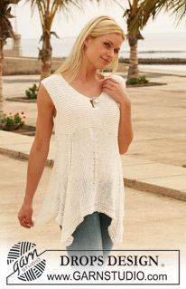 """Merry Morning - Wide DROPS top in """"Bomull-Lin"""". Size S - XXL. - Free pattern by DROPS Design"""