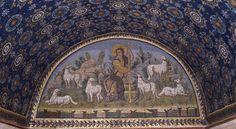 The Good Shepherd mosaic, Mausoleum of Galla Placida, Ravenna, (Early Christian) Good Shepard, The Good Shepherd, Medieval World, Medieval Art, Early Christian, Christian Art, Ravenna Mosaics, Art Romain, Ravenna Italy