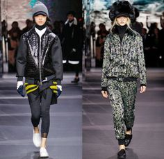 Moncler Gamme Rouge 2014-2015 Fall Autumn Winter Womens Runway Looks - Paris Fashion Week Mode à Paris Prêt à Porter Défilés - Leggings Jogging Sweatpants Outerwear Coat Topcoat Overcoat Parka Oversized Stripes Metallic Silver Cargo Pockets Furry Hat Flowers Florals Abstract Gloves Geometric Skirt Frock Beanie Knit Cap Hoodie Spikes
