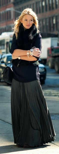 Fabulous outfits long maxi skirt, sleeve sweater and vest coat