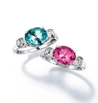 Shimmer Burst Ring - Silvertone ring with faux colored center stone and rhinestone accents on either side. Comes in your choice aqua or pink. Regularly $10.99, buy Avon Jewelry products online at http://eseagren.avonrepresentative.com