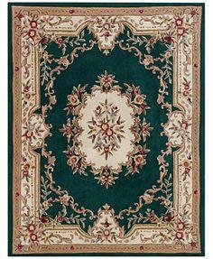 MANUFACTURER'S CLOSEOUT! Kenneth Mink Empress Aubusson Dark Green 5' x 8' Area Rug
