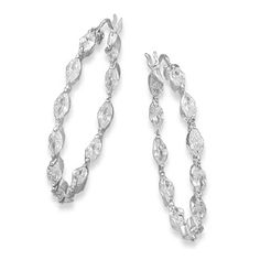 Rhodium Plated In/Out CZ Hoops
