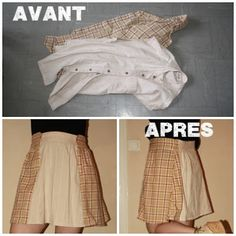 jupe manches de chemise - upcyled