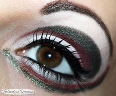 green - red - white eye make up inspired by Sailor Pluto, more pictures: http://www.talasia.de/2013/02/03/sailor-pluto-inspired-make-up/