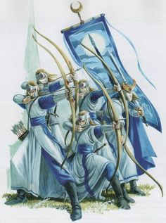 When young elves first join the milita, they will begin as archers, fighting with longbows. This allows them to gain war experience from a relatively safe distance. After a decade or so, they will become spearman, fighting with a spear and shield. This is the senior arm of the militia, and are expected to fight bravely in the main line of battle. Spearmen wear light armour and shields and archers may have light armour.