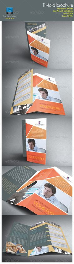 Tri-Fold Brochure #GraphicRiver Specs : adobe photoshop cs3, cs4, cs5, cs6 Resolution 300 dpi Size A4, with 0.25 Bleed Color CMYK Photo not included on download files Fonts : Times New Roman Champagne & Limousines .dafont /champagne-limousines.font Created: 5 December 13 Graphics Files Included: Photoshop PSD Layered: Yes Minimum Adobe CS Version: CS Print Dimensions: 8.5x11 Tags Print Ready tri fold