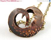 20 % SALE! Fold Formed Copper Seed Pod Necklace with Iridescent Freshwater Pearls